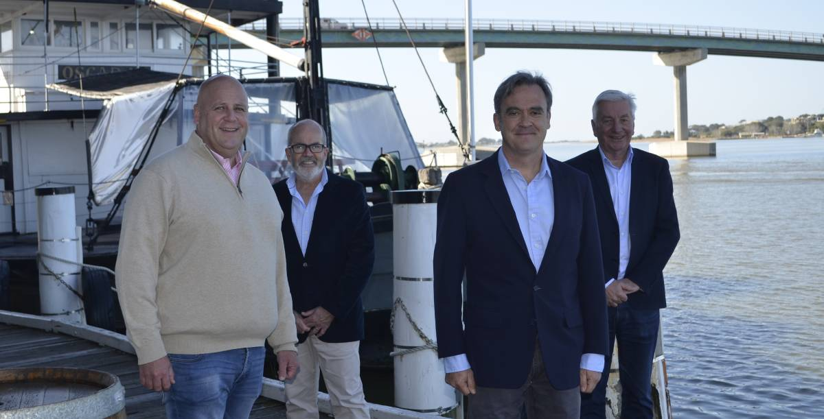 Wharf precinct upgrades: Member for Finniss David Basham, Alexandrina CEO Glenn Rappensberg, Senator Andrew McLachlan and Alexandrina Mayor Keith Parkes gathered in Goolwa on June 5 to announce $7.5 million in funding for the Goolwa Wharf precinct.