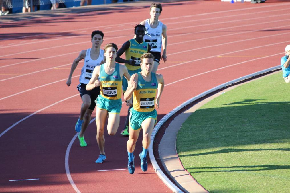Leading from the front: Casey Buchanan leads the pack around the straight during his U20 gold medal 800m victory at the Oceania Athletics Championships.