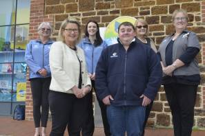 SWITCH: Volunteers of the Whale Centre and Visitor Information Centre with Mayor Moira Jenkins, councillor Carol Schofield and Whale Centre co-ordinator Ben Boothby.