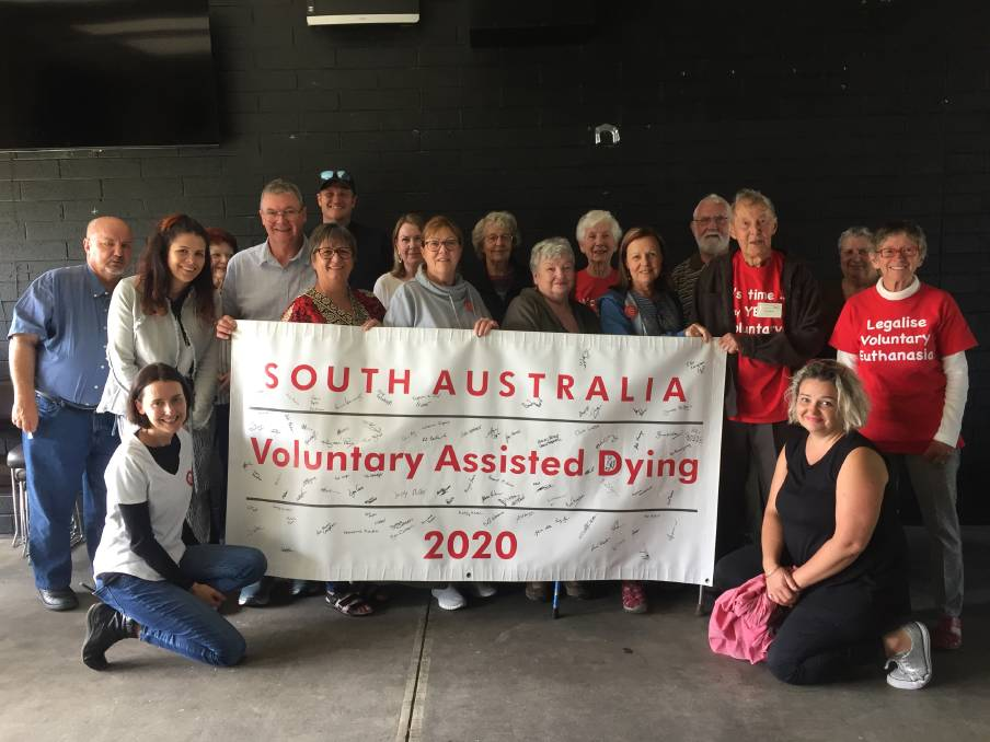 Part of the crowd that attended the Voluntary Assisted Dying campaign held in Victor Harbor this month.