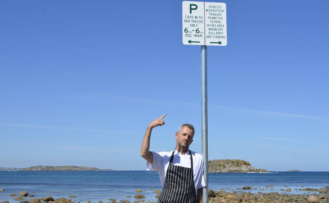 BUSINESS IMPACT: Allistair Parker of Eat at Whalers at the car park opposite his business.
